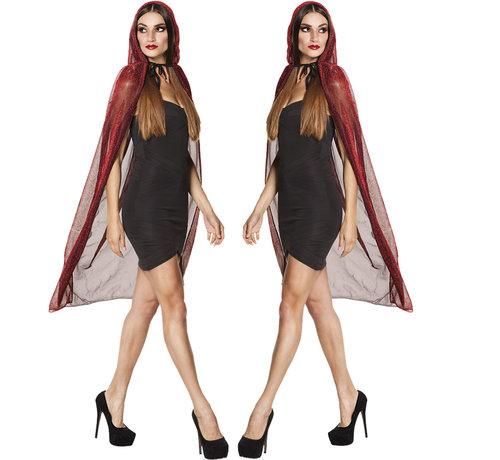Doorzichtige halloween cape rood