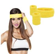 Neon gele zweetband set