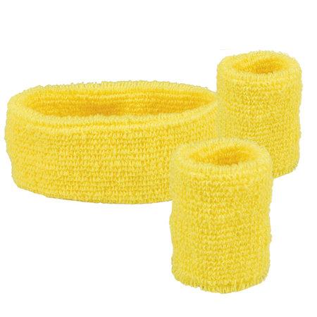 Goedkope neon geel zweetband set kopen