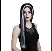 Zwarte pruik lang haar
