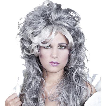 Dames Zilver grijze pruik Ice queen