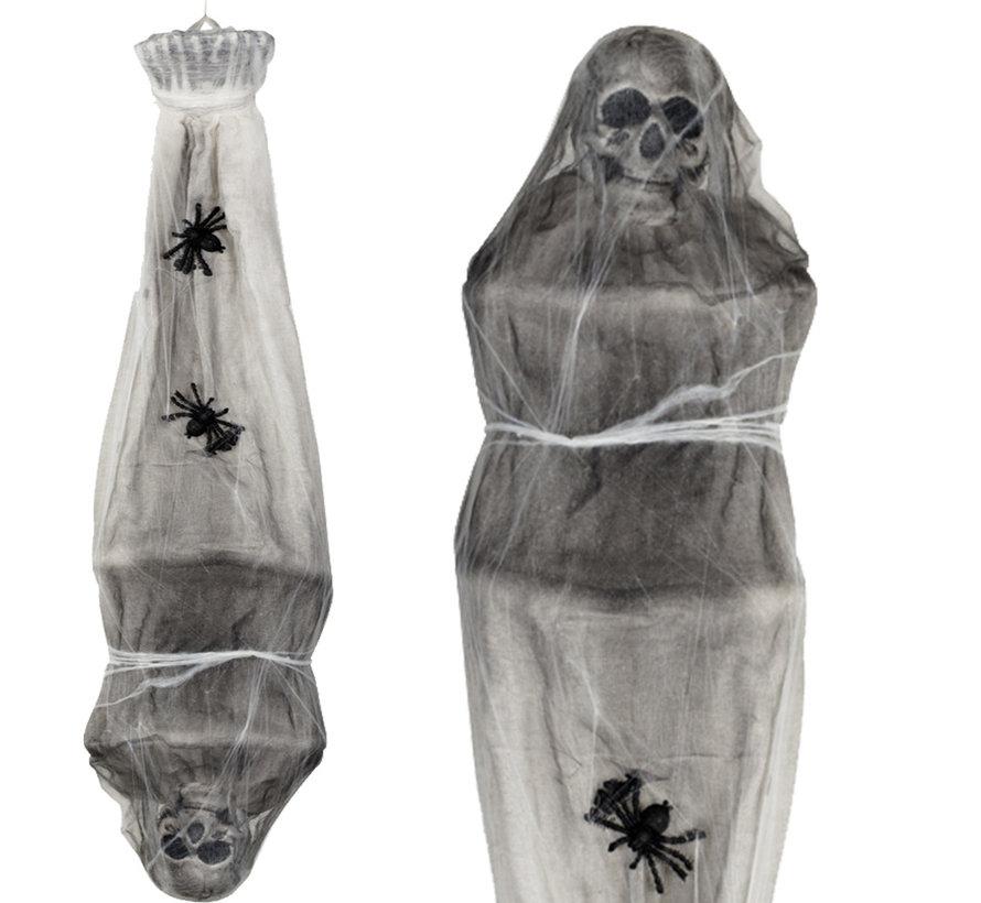Horror spinnen cocon zak met een skelet