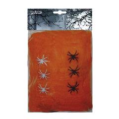 Spinrag oranje met 6 spinnen