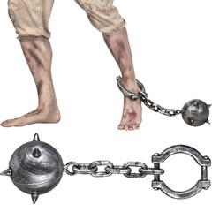 Puntige bal met ketting