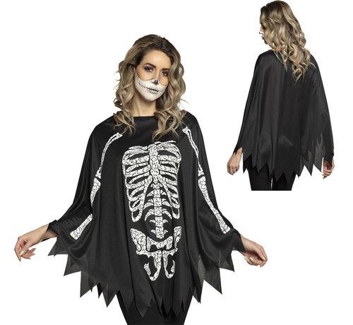 Halloween skelet  poncho voor volwassenen