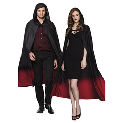Rood zwarte cape met capuchon