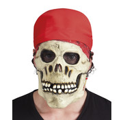 Latex Piraten schedel masker met bandana