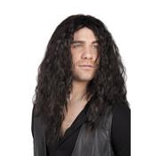 Herenpruik Mick met lang zwart haar