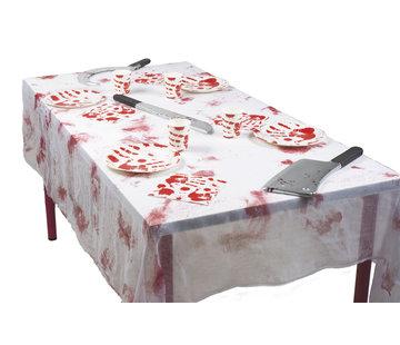 Horror wit tafellaken met bloedspatten