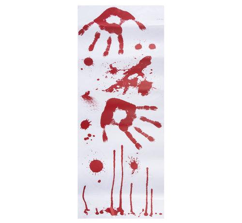 Bloederige stickers handafdruk horror