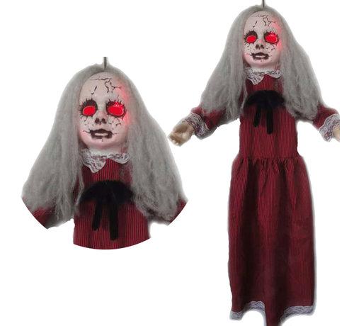 Hangdecoratie zombie meisje pop met licht en geluid