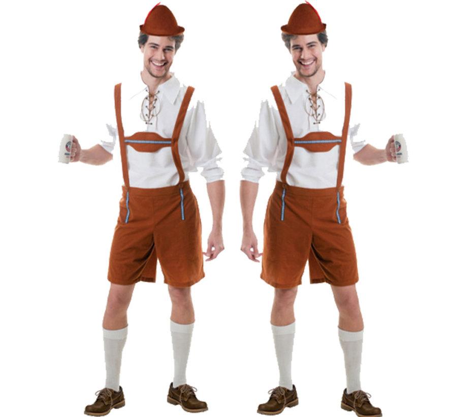 Bruin Beige Lederhose kostuum oktoberfest