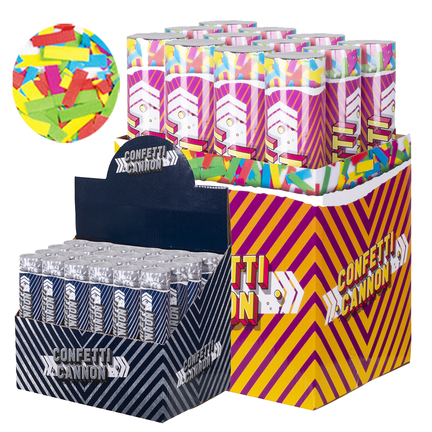 Confetti kanon en confetti shooters in verschillende  kleuren en maten