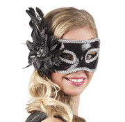Venetiaans oogmasker zwarte pailletten