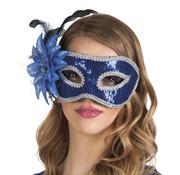 Venetiaans oogmasker met blauwe pailletten