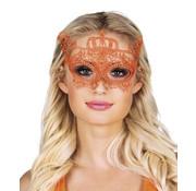 Oranje kanten oogmasker kroon