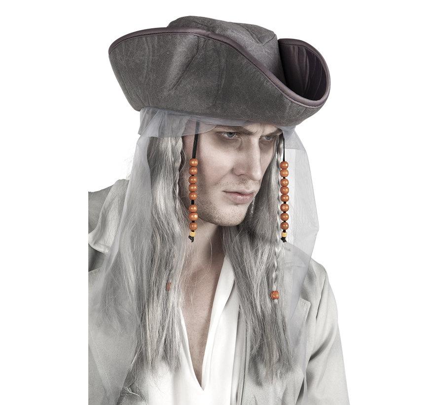 Piratenhoed met pruik
