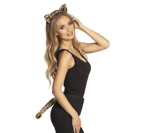 Diadeem katten oren set Luipaard