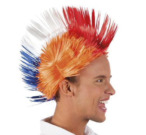 Pruik Spiky Mike oranje met rood-wit-blauwe hanenkam