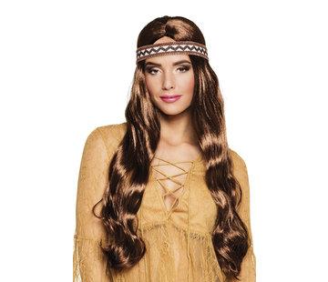Hippie pruik dames met haarband