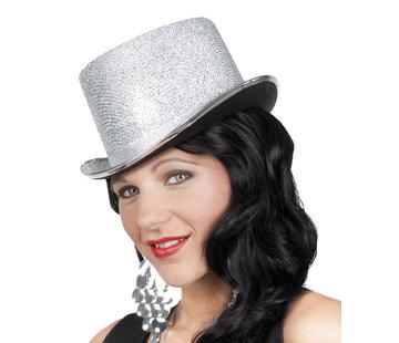 Hoge hoed zilver gekleurd