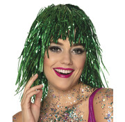 Metallic Groene glitterpruik