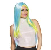 Meerkleurige pruik lang haar