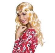 Hippie Pruik Blond met Bloemenkrans