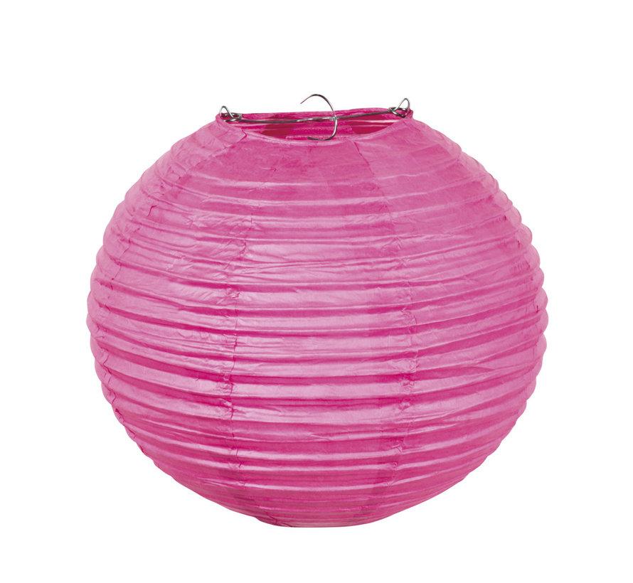 Roze Papieren lampion met draad frame