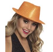 Neon oranje glitter hoedje