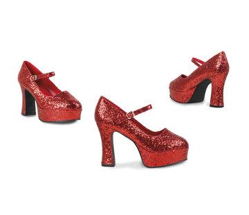 High heels glitter rood