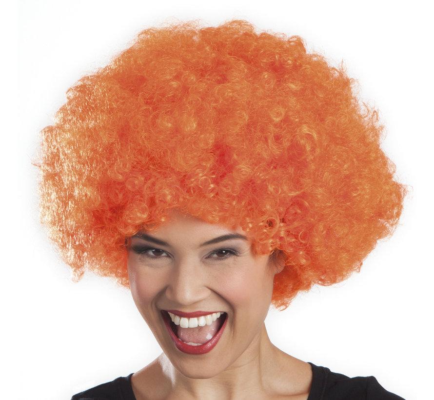 Oranje afro pruik