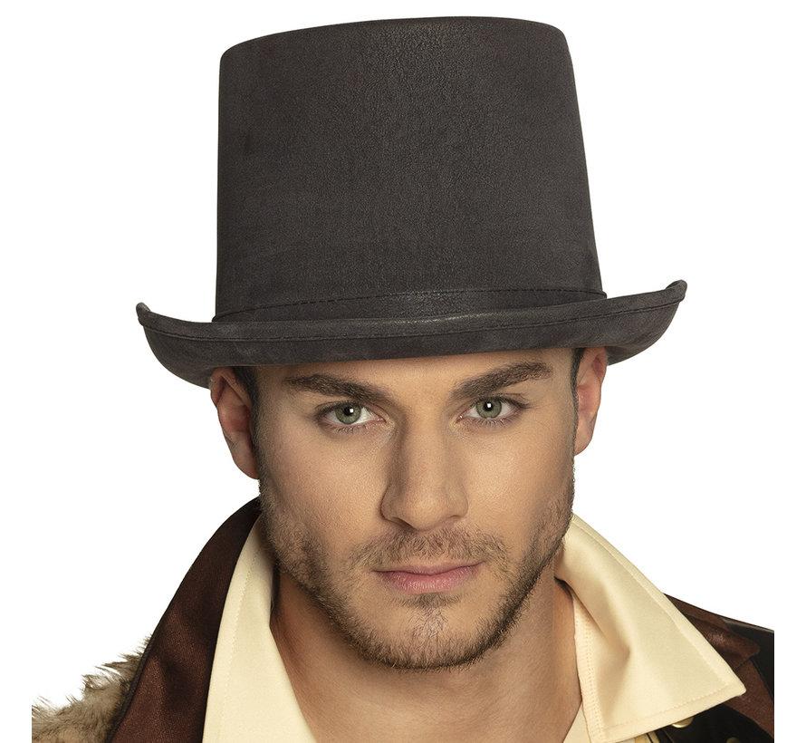 Hoge  Steampunk  hoed heren  grijs