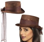 Steampunk hoed met sluier