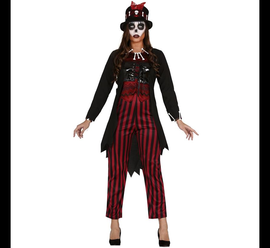 Voodoo dames kostuum rood/zwart