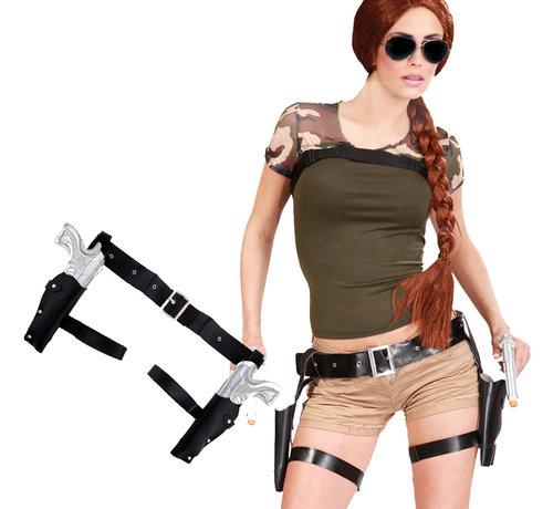 Lara Croft beenholsters met 2 pistolen