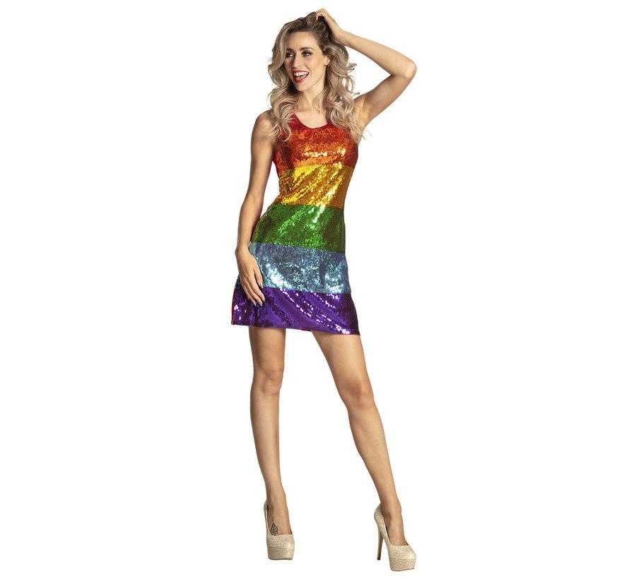 Glitter jurk Regenboog dames