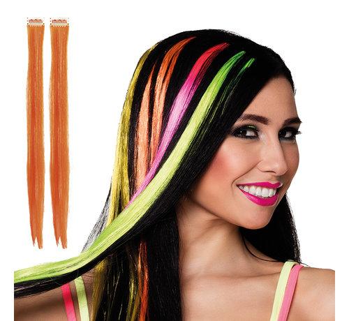 Hair extension oranje clip in