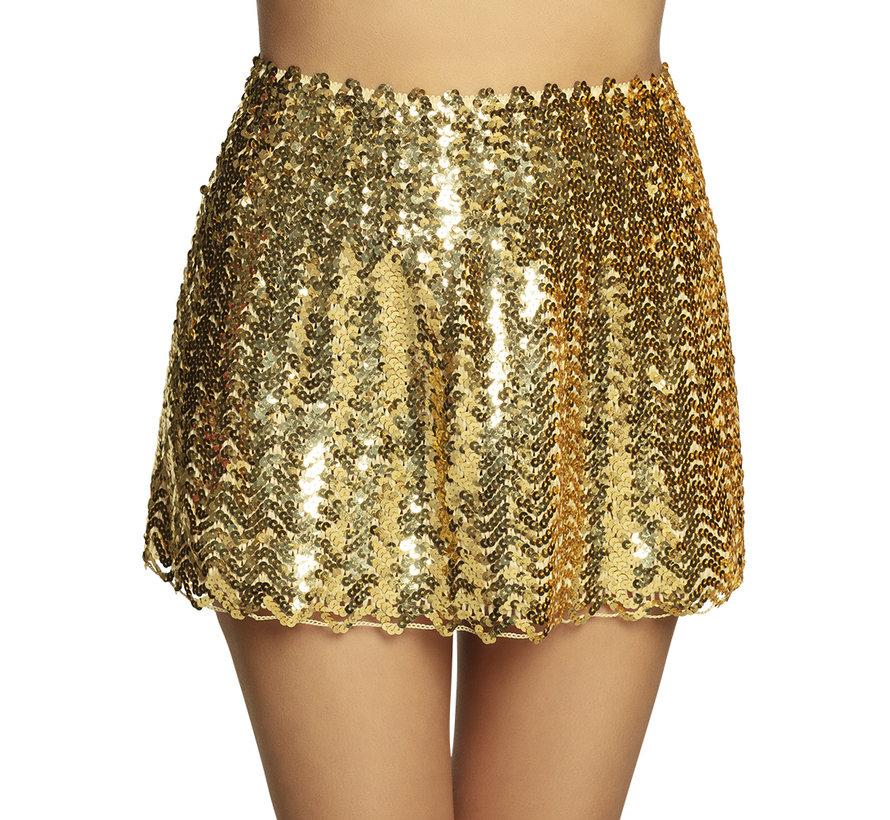 Pailletten rok goudkleurig dames