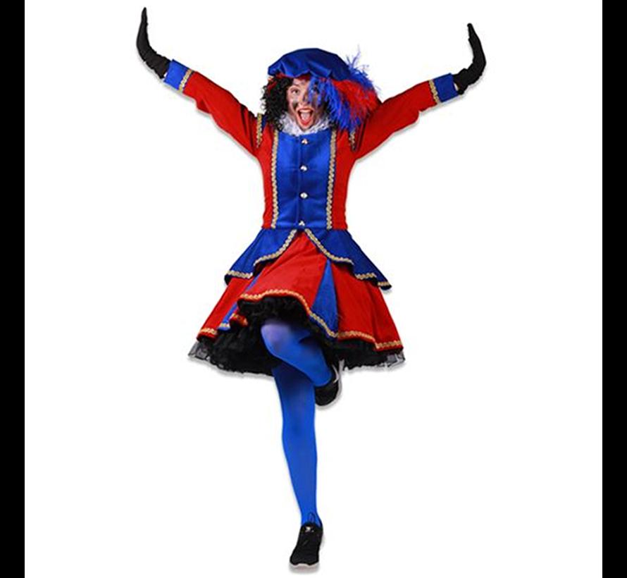 Dames pieten jurken rood/blauw