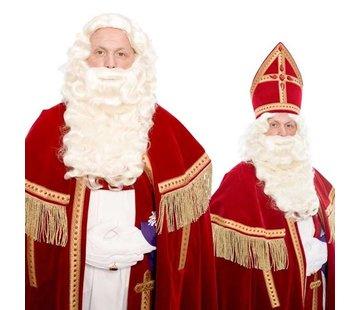 Sinterklaas baard krulsnor kanekalon