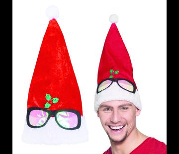 Kerstmuts staand met bril