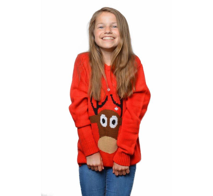 Foute kersttrui kind rood rendier