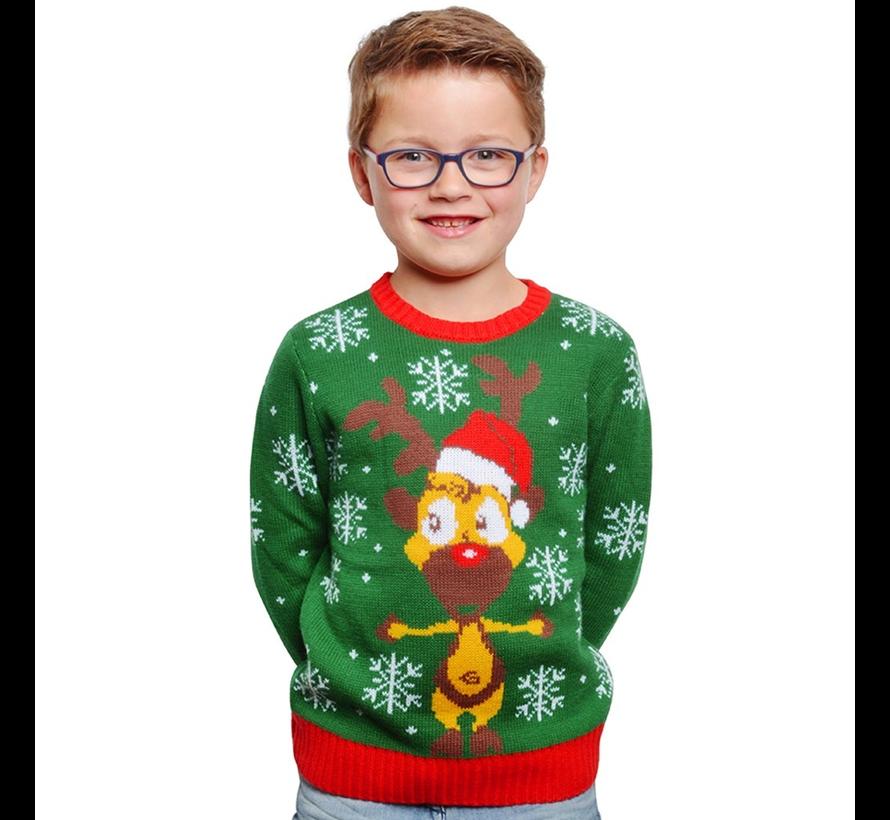 Foute kersttrui kinderen groen rendier
