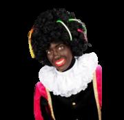 Zwarte pieten pruik met linten