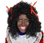Zwarte pieten pruik lang haar