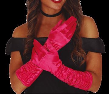Handschoenen geplooid satijn hard roze