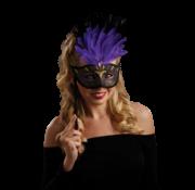 Dames oogmasker met blauwe veren