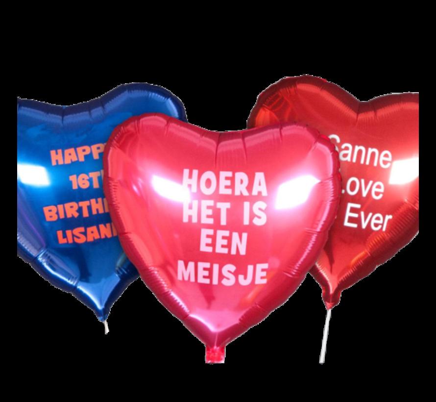 Bedrukte folie ballon 'Hartje' (met helium)