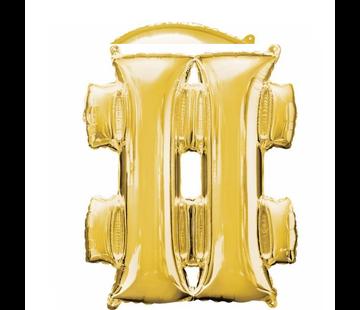 Hashtag folie ballon goud